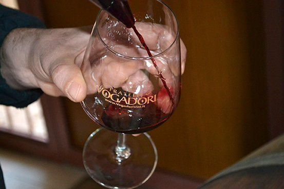Tasting the Amarone in the cellar